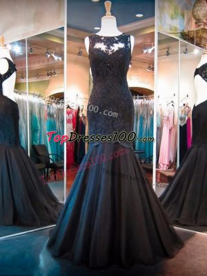 Floor Length Black Prom Homecoming Dress Scoop Sleeveless Backless