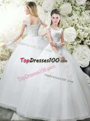 Attractive White Ball Gowns Tulle Scoop Cap Sleeves Appliques Floor Length Lace Up Wedding Dress