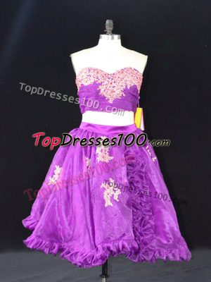 Admirable Eggplant Purple Two Pieces Organza Sweetheart Sleeveless Appliques and Ruffles Mini Length Zipper Prom Evening Gown