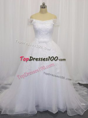Decent White Ball Gowns Beading and Lace and Belt Wedding Gowns Lace Up Tulle Sleeveless