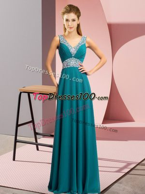 Empire Prom Evening Gown Teal V-neck Chiffon Sleeveless Floor Length Lace Up