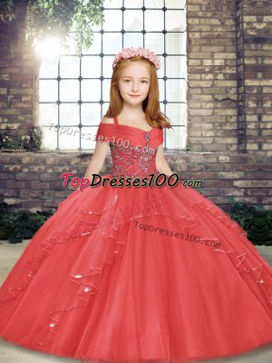 Floor Length Lace Up Little Girl Pageant Gowns Coral Red for Party and Wedding Party with Beading and Ruffles
