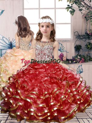 Graceful Floor Length Ball Gowns Sleeveless Red Kids Formal Wear Lace Up