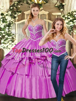 Sweetheart Sleeveless Taffeta Quinceanera Gown Beading Lace Up