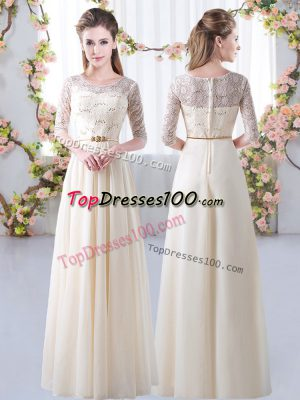Exquisite Chiffon Half Sleeves Floor Length Bridesmaids Dress and Lace and Belt