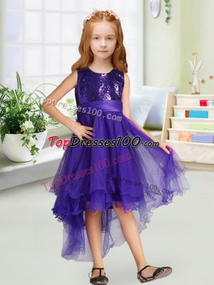 Sleeveless Zipper High Low Sequins and Bowknot Flower Girl Dresses for Less