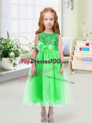 High Class Green Sleeveless Sequins and Hand Made Flower Tea Length Flower Girl Dresses for Less