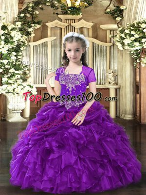 Affordable Straps Sleeveless Kids Formal Wear Floor Length Beading and Ruffles Purple Organza