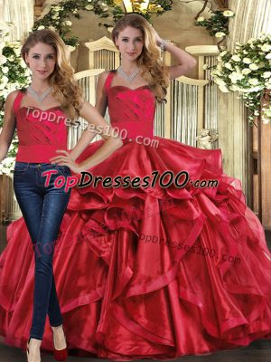 Fashionable Ball Gowns 15 Quinceanera Dress Red Halter Top Organza Sleeveless Floor Length Lace Up
