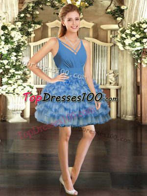 Designer Blue V-neck Backless Ruffled Layers Prom Party Dress Sleeveless