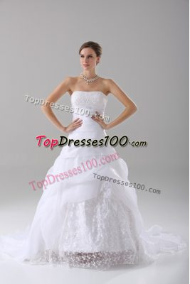 Affordable White Wedding Dresses Wedding Party with Beading and Lace Strapless Sleeveless Brush Train Lace Up