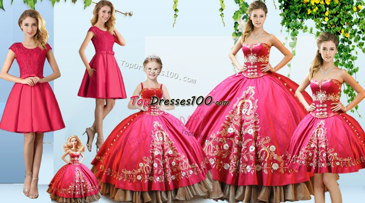 Hot Pink Sweet 16 Dresses Sweet 16 and Quinceanera with Embroidery Sweetheart Sleeveless Lace Up
