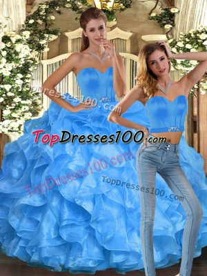 Glittering Baby Blue Organza Lace Up Sweetheart Sleeveless Floor Length 15th Birthday Dress Ruffles