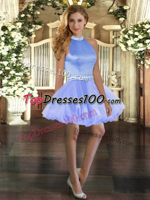 Blue Sleeveless Beading Mini Length Dress for Prom