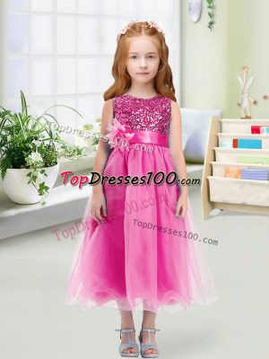 Elegant Scoop Sleeveless Organza Flower Girl Dresses for Less Sequins and Hand Made Flower Zipper