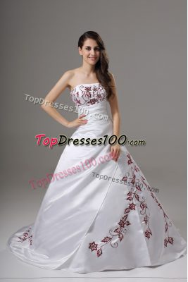 Luxurious White Strapless Neckline Embroidery Wedding Gowns Sleeveless Lace Up