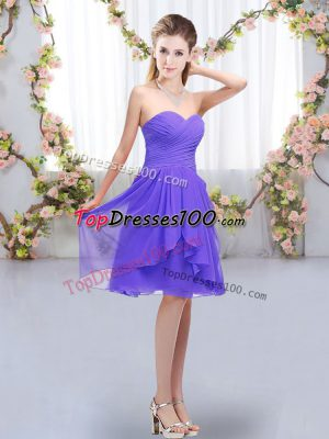 Glamorous Sweetheart Sleeveless Chiffon Wedding Guest Dresses Ruffles and Ruching Lace Up