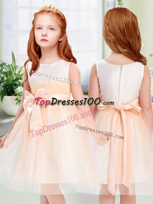 Graceful Peach Tulle Zipper Flower Girl Dresses for Less Sleeveless Knee Length Bowknot