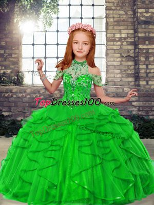 Ball Gowns Beading and Ruffles Pageant Dress Wholesale Lace Up Tulle Sleeveless Floor Length
