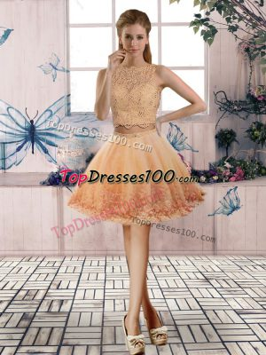 Gold Prom Dress Prom and Party with Beading and Lace Scoop Sleeveless Backless