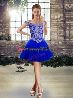 Royal Blue Off The Shoulder Lace Up Beading and Appliques Homecoming Dress Online Sleeveless