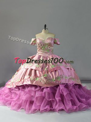 Sleeveless Embroidery and Ruffles Lace Up Quinceanera Dress with Lilac Chapel Train