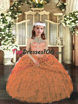 Beading and Ruffles Pageant Dress for Womens Orange Lace Up Sleeveless Floor Length