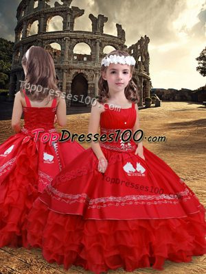 Sweet Floor Length Red Kids Pageant Dress Satin and Organza Sleeveless Embroidery and Ruffled Layers