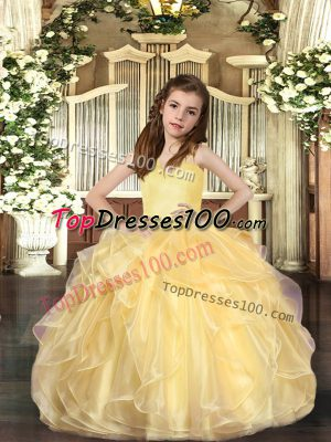 Sleeveless Lace Up Floor Length Ruffles Child Pageant Dress