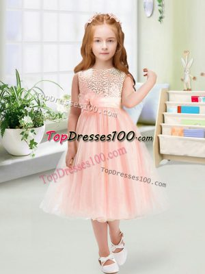 Fine Baby Pink Toddler Flower Girl Dress Wedding Party with Sequins and Hand Made Flower Scoop Sleeveless Zipper