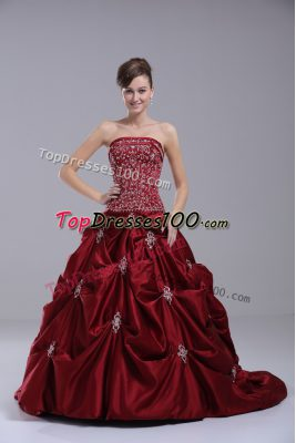 Spectacular Taffeta Strapless Sleeveless Brush Train Lace Up Beading and Embroidery Wedding Dress in Wine Red