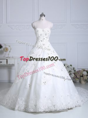 White Ball Gowns Sweetheart Sleeveless Tulle Chapel Train Lace Up Beading and Lace Wedding Gowns
