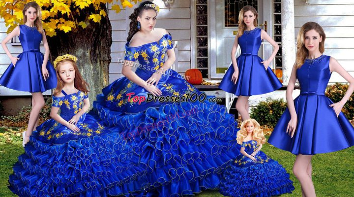 Noble Royal Blue Sleeveless Organza Lace Up Sweet 16 Quinceanera Dress for Sweet 16 and Quinceanera