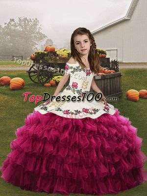 Fuchsia Ball Gowns Spaghetti Straps Sleeveless Organza Floor Length Lace Up Embroidery and Ruffled Layers Little Girls Pageant Dress