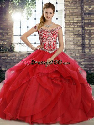 029cc87892f Red Ball Gowns Off The Shoulder Sleeveless Tulle Brush Train Lace Up Beading  and Ruffles Sweet
