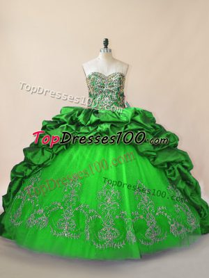 Chic Sweetheart Sleeveless Ball Gown Prom Dress Brush Train Beading and Pick Ups Green Taffeta and Tulle