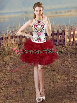 Sleeveless Mini Length Embroidery and Ruffles Lace Up Homecoming Dress with White And Red