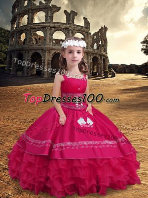 Best Sleeveless Floor Length Embroidery and Ruffled Layers Zipper Little Girls Pageant Dress with Hot Pink