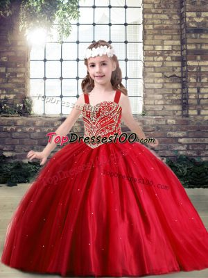 Red Tulle Lace Up Pageant Gowns For Girls Sleeveless Floor Length Beading