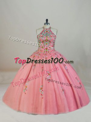 Suitable Pink Sleeveless Tulle Brush Train Lace Up Ball Gown Prom Dress for Sweet 16 and Quinceanera