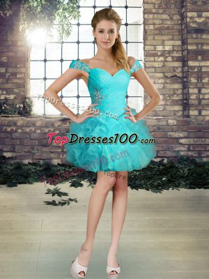 Aqua Blue Off The Shoulder Lace Up Beading and Ruffles Dress for Prom Sleeveless
