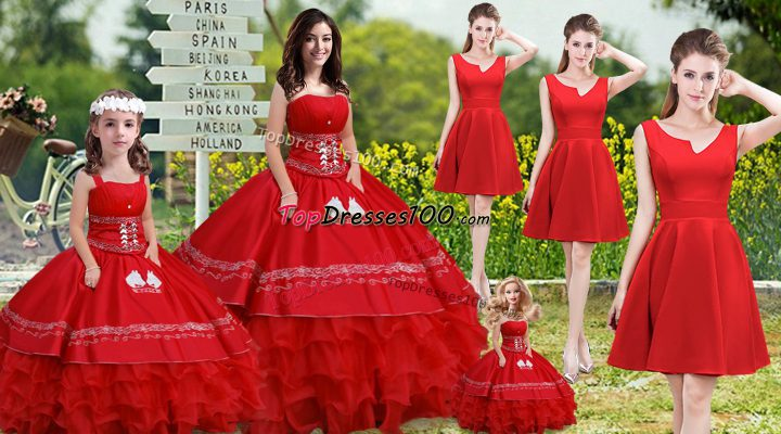 Elegant Red Satin and Organza Lace Up Strapless Sleeveless Floor Length Quinceanera Gown Embroidery and Ruffles