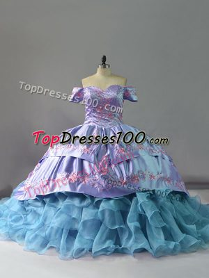 Chapel Train Ball Gowns Ball Gown Prom Dress Blue Off The Shoulder Organza Sleeveless Lace Up