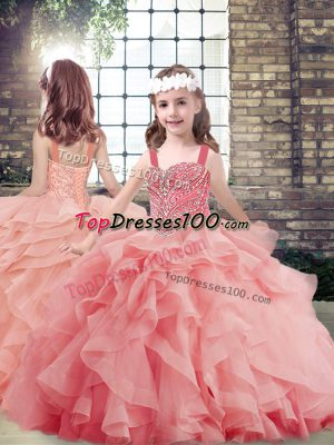 Custom Made Watermelon Red Sleeveless Tulle Lace Up Kids Pageant Dress for Party and Sweet 16 and Wedding Party
