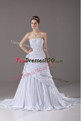 Fantastic Strapless Sleeveless Taffeta Wedding Gown Beading and Pick Ups and Hand Made Flower Brush Train Lace Up