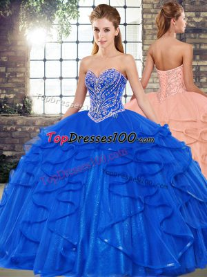 Smart Tulle Sleeveless Floor Length Quince Ball Gowns and Beading and Ruffles
