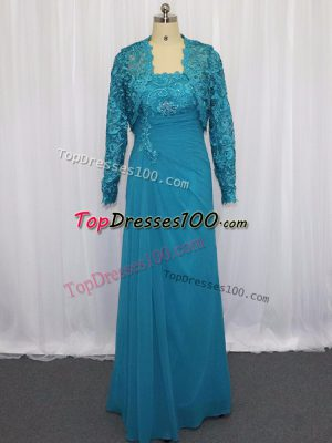 Suitable Blue Zipper Strapless Lace and Appliques Evening Dress Chiffon Sleeveless