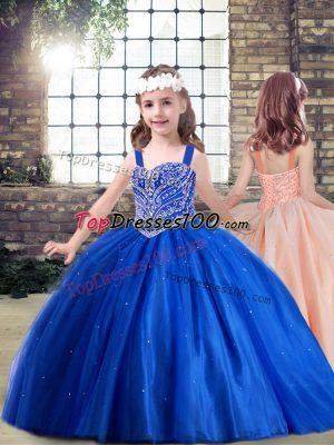 Wonderful Royal Blue Little Girl Pageant Gowns Party and Quinceanera with Beading Straps Sleeveless Lace Up