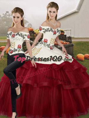 5eb37583c56 Off The Shoulder Sleeveless Quinceanera Gown Brush Train Embroidery and Ruffled  Layers Wine Red Tulle