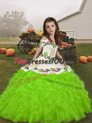 Best Organza Straps Sleeveless Lace Up Embroidery and Ruffles Pageant Gowns For Girls in